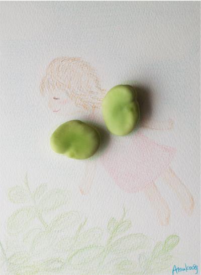染矢敦子の絵、そら豆天使